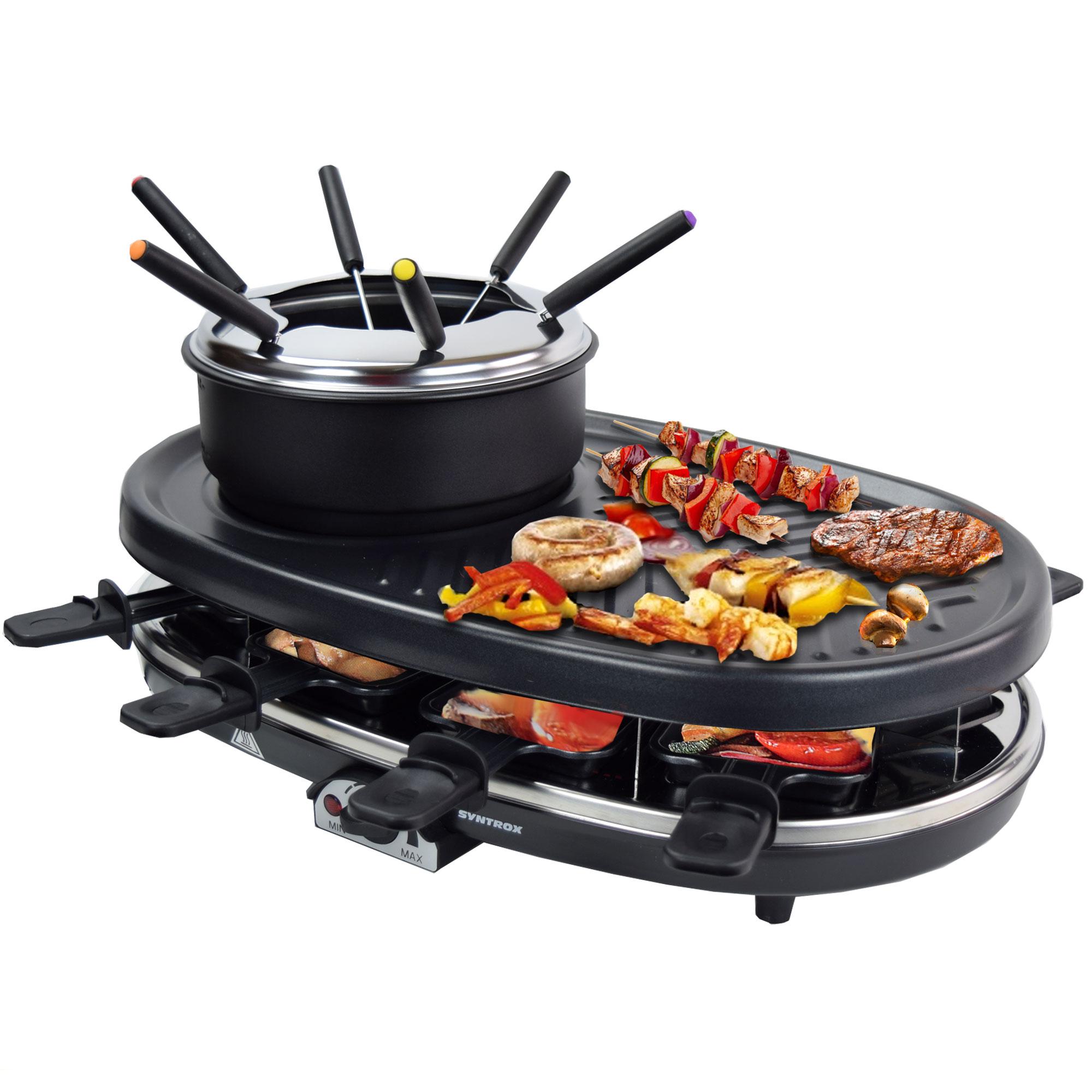 elektro raclette tischgrill grill grillplatte fondue mit 8. Black Bedroom Furniture Sets. Home Design Ideas